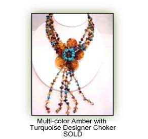 Multicolor Amber with Turquiose Desinger Choker