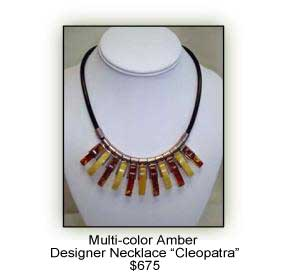 Multi-color amber designer necklace Cleopatra