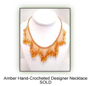 Amber Hand Crocheted Desinger Necklace