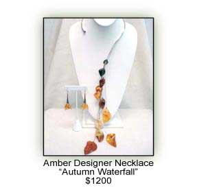 Amber Designer Necklace 'Autumn Waterfall'