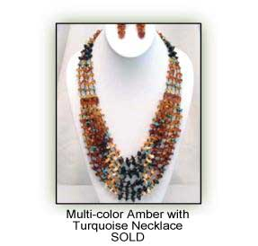 Multi-color Amver with Turquoise Necklace