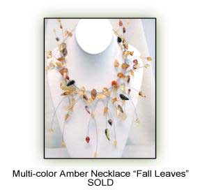 Multi-color Amber Necklace 'Fall Leaves'