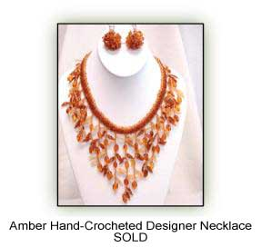 Amber Hand-Crocheted Designer Necklace