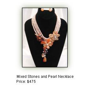 Mixed Stones and Pearl Necklace