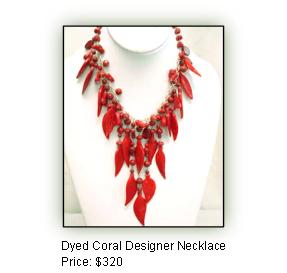 Dyed Coral Designer Necklace