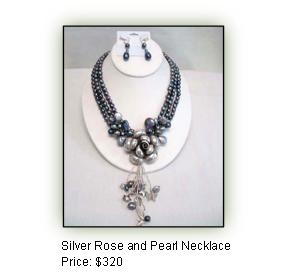 Silver Rose and Pearl Necklace